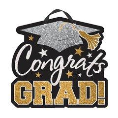 Congrats Grad Value Sign - Black , Silver , Gold