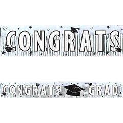 White Grad Metallic Fringe Banner