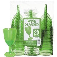 Transparent Green Plastic Wine Glasses 8oz 20ct