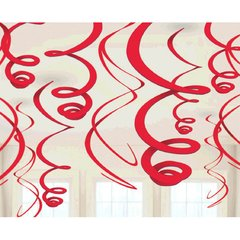 Apple Red Plastic Swirl Decorations, 12ct