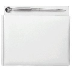 White Pearlized Guest Book with Silver Electroplated Pen