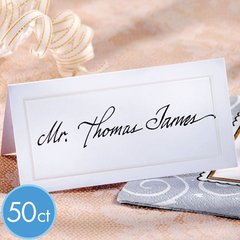 White Pearlized Wedding Place Cards 50ct