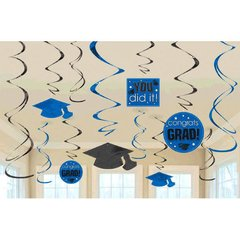 Bright Royal Blue Grad Value Pack Swirl Decorations