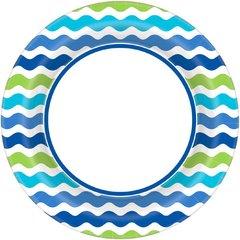 "Cool Wavy Stripe Round Plate, 10"""