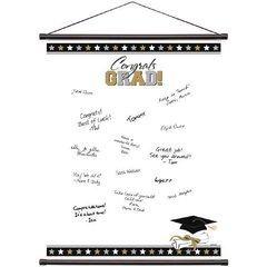 Grad Sign-In Scroll Sheet - Black, Silver & Gold