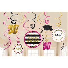 Gold Confetti Grad 2017 Value Pack Foil Swirl Decorations