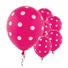 Bright Pink Dots All Over Print Latex Balloons