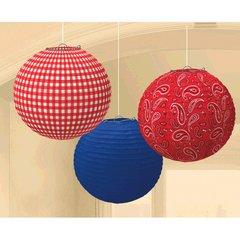Western Round Printed Paper Lanterns