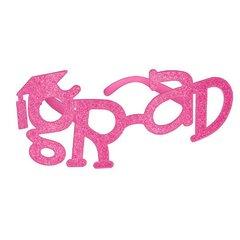 Grad Shaped Plastic Glasses - Pink Glitter