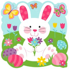 Easter Bunny with Butterflies Cutout