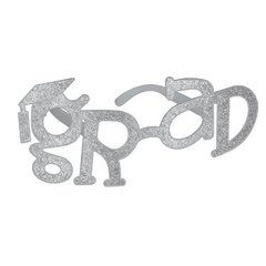 Grad Shaped Plastic Glasses - Silver Glitter