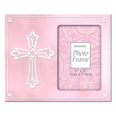 Religious Metal Frame Pink w/Cross