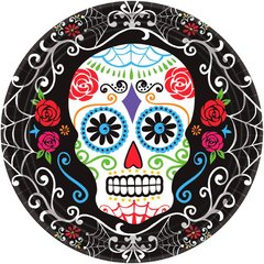 """Day of The Dead Round Plates, 10 1/2"""""""
