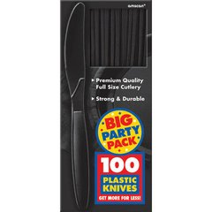 Big Party Pack Jet Black Plastic Knives, 100ct