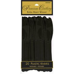 Jet Black Premium Heavy Weight Plastic Knives 20ct