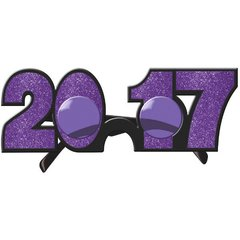 2017 New Year's Glitter Glasses - Purple