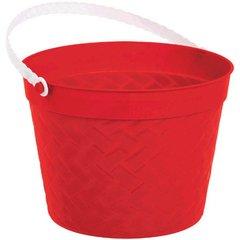 Weave Plastic Bucket - Red