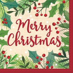 Merry Holly Day Luncheon Napkins