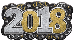"""2018: Glitter Vac Form Sign - Black, Silver, Gold"