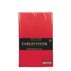 """Apple Red Round Plastic Table Cover, 84"""""""