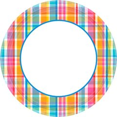 "Bright Border Round Plates, 8 1/2"""