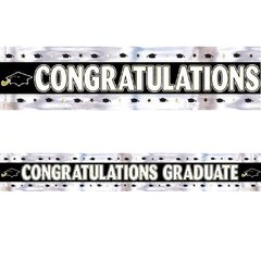 Graduation Foil Banner - Black, White, Silver, Gold