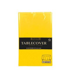 """Yellow Sunshine Round Plastic Table Cover, 84"""""""