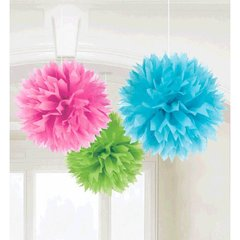 Multi Fluffy Paper Decorations, 3ct