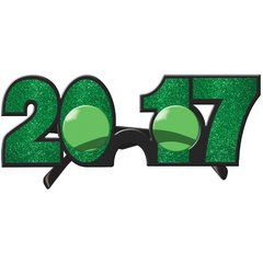 2017 New Year's Glitter Glasses - Green