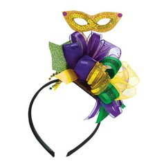 Mardi Gras Bow Headband w/Ribbon