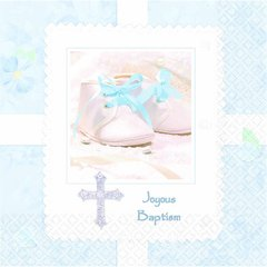 Tiny Blessing Blue Baptism Luncheon Napkins 16ct