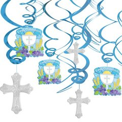 Blue Communion Value Pack Foil Swirl Decorations