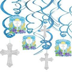 Blue Communion Value Pack Foil Swirl Decorations