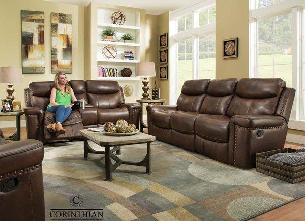 Corinthian Softie Driftwood 100% Leather Sofa & Loveseat
