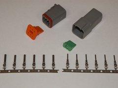 6X Gray Deutch DT Series Connector Set 16-18-20 STAMPED Nickel Terminals
