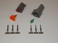 3X Gray Deutch DT Series Connector Set 16-18-20 STAMPED Nickel Terminals