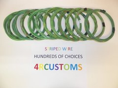 16 gauge GXL wire - Individual light green Striped Color and Size Options