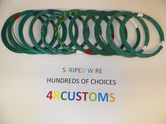 16 gauge GXL wire - Individual Green Striped Color and Size Options