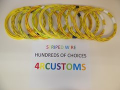 18 gauge GXL wire - Individual Yellow Striped Color and Size Options