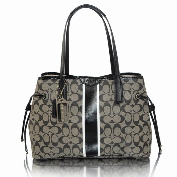 Ladies Coach Striped Signature Canvas Satchel 29064