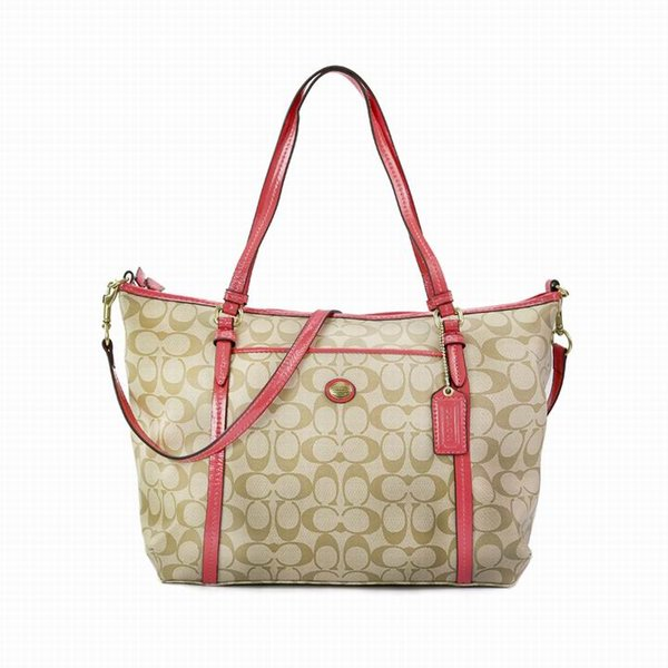 Ladies Coach Red In Signature Coated Canvas Bag