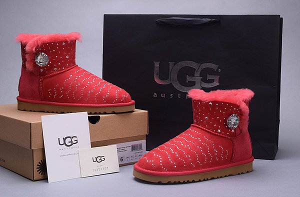 Ladies UGG Red Custom Stone Studded Mini Bailey Button Bling Boots (USA LADIES SIZE 5 - 8 ONLY)