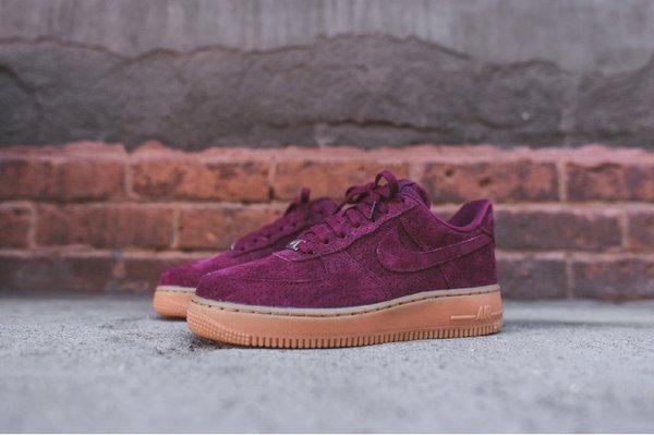 Ladies Nike Air Force 1 07 Low Suede Maroon Gum Sneakers