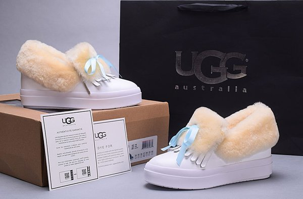 Ladies UGG Custom Low-Top Croft Luxe White Sneakers (USA LADIES SIZE 5 - 8 ONLY)