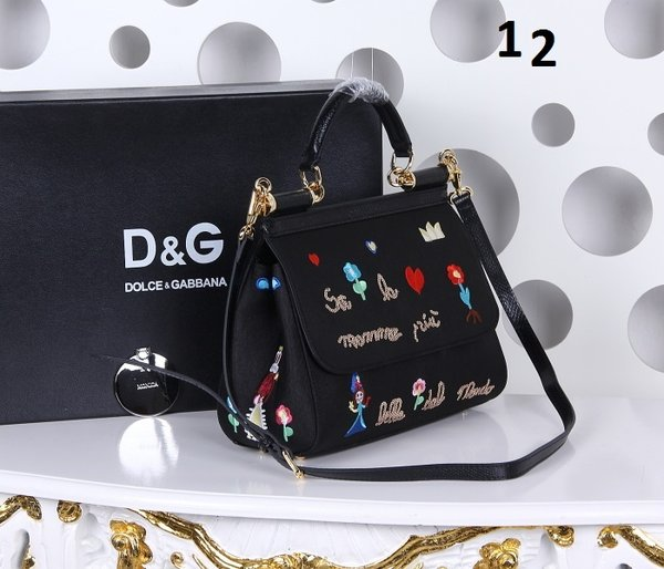 Vintage Dolce & Gabbana Women's Black Small Sicily Embroidered Grosgrain Bag (11-12)