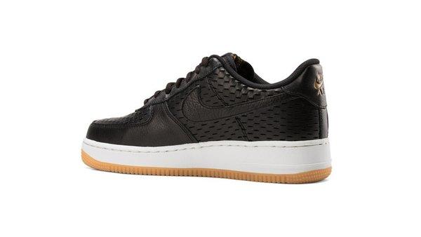 Men's Nike Air Force 1 07 Premium Summit Black & Metallic Gold Sneakers