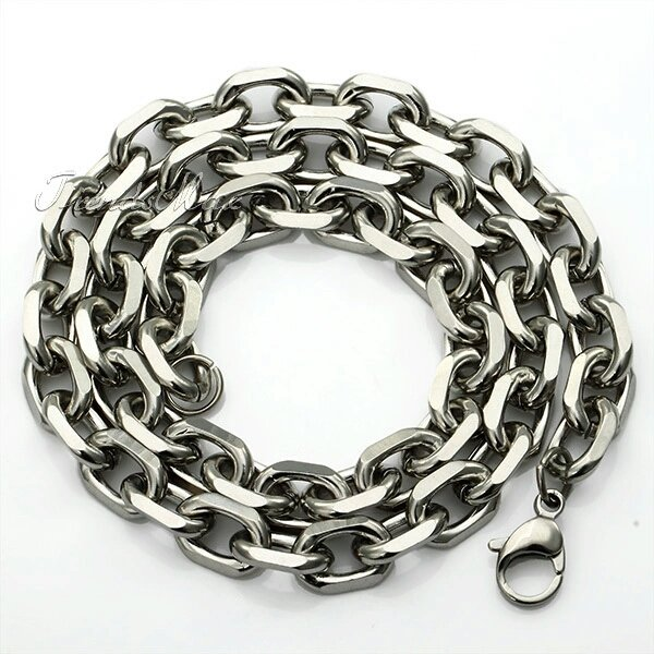 Men's 2-10mm Stainless Steel Silver Rolo Link Necklace