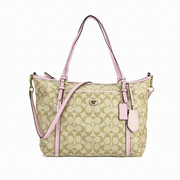 Ladies Coach Light Pink In Signature Coated Canvas Bag