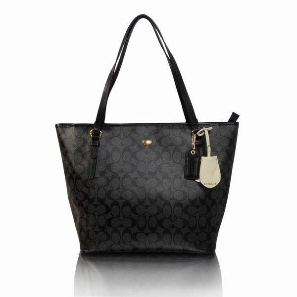 Ladies Coach Solid Signature Print Tote Bag 27348