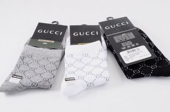 Gucci GG Print Stretch Cotton Socks With Web 1399520